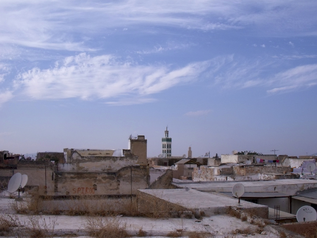 Vista tejados y mezquita de Meknès