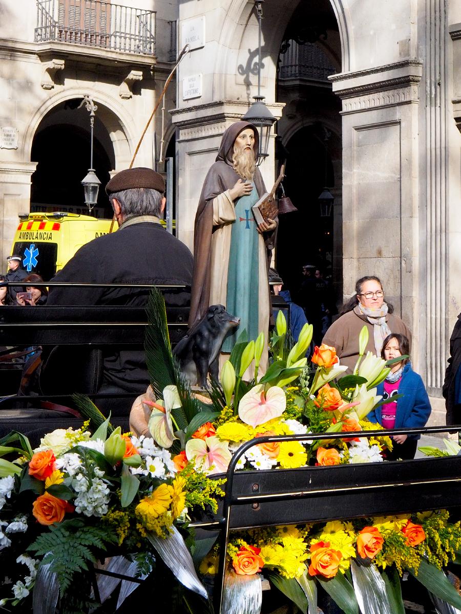 Figura de Sant Antoni y su cerdo/jabalí - Els Tres Tombs